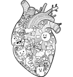 Anatomical heart with funny doodles vector