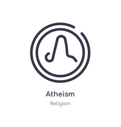 Atheism outline icon isolated line from religion vector