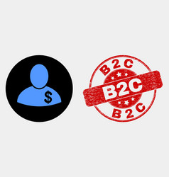 banker icon and distress b2c seal vector image