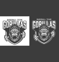 Baseball team angry gorilla mascot emblem vector