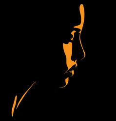 Beauty woman face silhouette in contrast vector