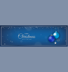 blue christmas banner with christmas ball vector image