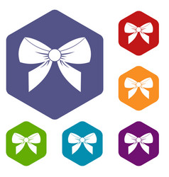 Bow icons set hexagon vector