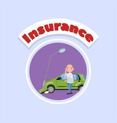 Car bumped at the lamp post car insurance concept vector