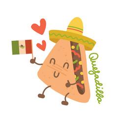 cartoon funny quesadilla character in mexican hat vector image