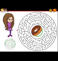 cartoon maze game with girl and doughnut vector image