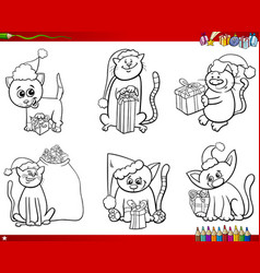 Cats on christmas time set coloring book vector