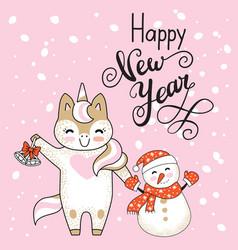 christmas card congratulations cute unicorn vector image