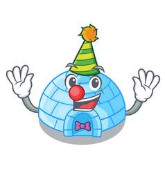 Clown cartoon ice house igloo on snowing day vector