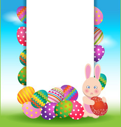 Colorful eggs and bunny for Easter day greeting vector image vector image