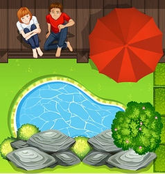 Couple sitting near pond aerial perspective vector