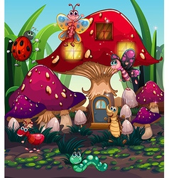 Different insects living in the mushroom house vector image