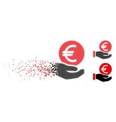 Disintegrating pixelated halftone euro coin vector