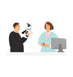 dog at veterinarian vector image