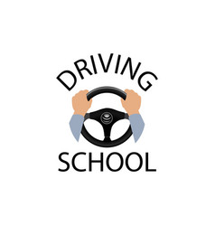 Driving school sign diver with hands holding vector