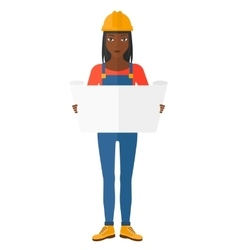 Engineer holding a blueprint vector image