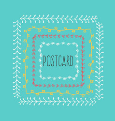Ethnic postcard background with hand drawn line vector