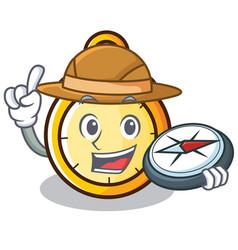 Explorer chronometer character cartoon style vector