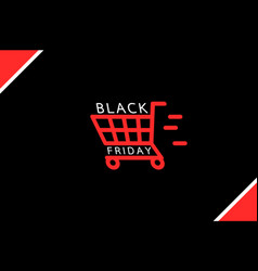 fast shopping - cart black friday sale concept vector image