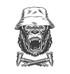 Ferocious gorilla head in panama hat vector