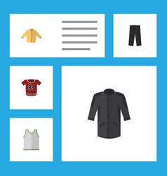 Flat icon garment set banyan t-shirt uniform vector