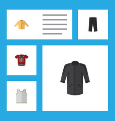 Flat icon garment set of banyan t-shirt uniform vector