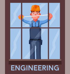 funny engineer is measures a window vector image