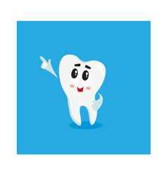 funny shiny white tooth character pointing to vector image