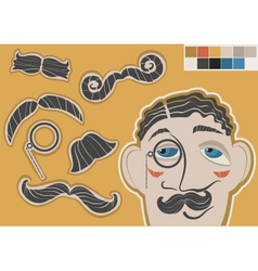 gentleman face and mustaches vector image