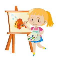 Girl painting goldfish on canvas vector
