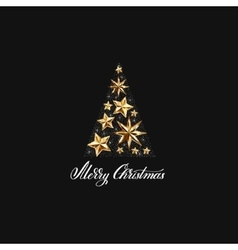 Gold stars christmas tree with hand lettering vector