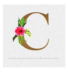 Golden letter c watercolor floral background vector