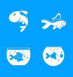 Goldfish and fishbowl icons set simple style vector