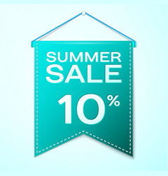 Green pennant with inscription summer sale ten vector