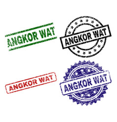 Grunge textured angkor wat stamp seals vector