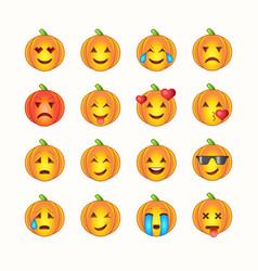 Halloween emoticon face icons set vector