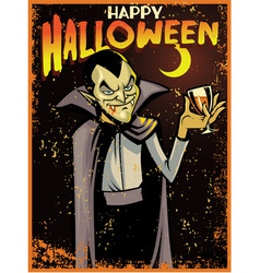 Halloween greeting card with dracula vector