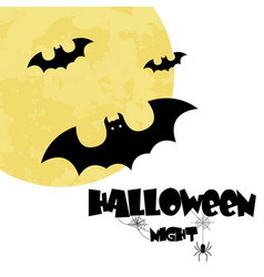 halloween night bats full moon background i vector image