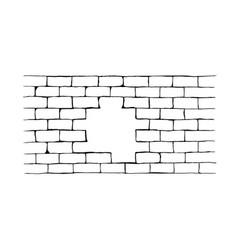 Hand drawn brick hole wall vector