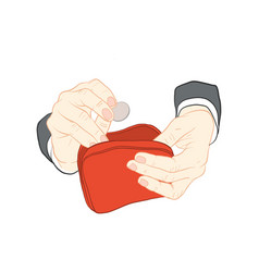 Hand holding wallet vector
