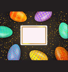 happy easter colorful painted eggs on black vector image