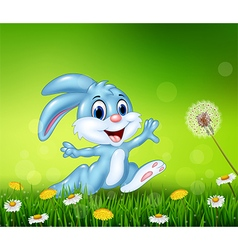 Happy little bunny jumping on grass background vector