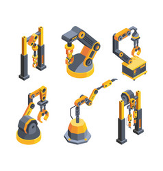 heavy industry robots colorful isometric vector image