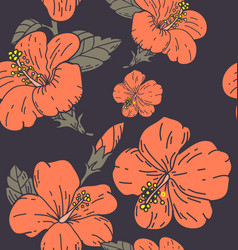 hibicus flowers pattern 4 vector image