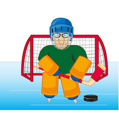 Hockey goalkeeper cost stand on winch vector