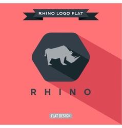 Icon rhino on flat style logo vector image