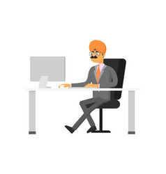 indian businessman working on computer vector image