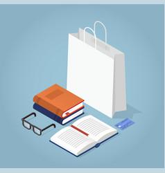 isomertic book store vector image