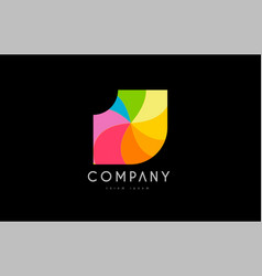 j rainbow colors logo icon alphabet design vector image