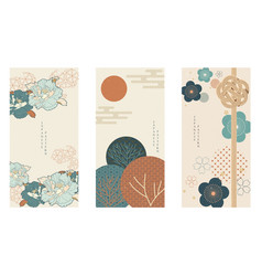 Japanese background with asian traditional icon vector